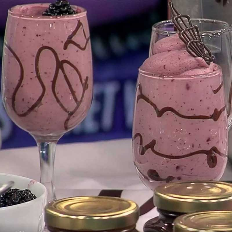 Black Raspberry-White Chocolate Mousse in Painted Wine Glasses